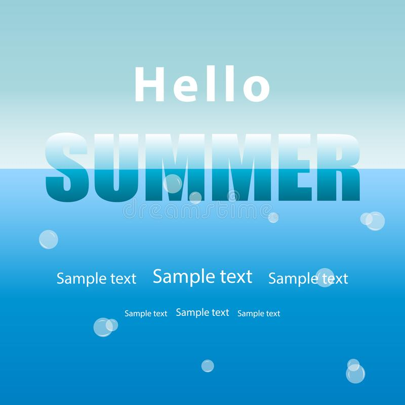 Summer background, blue sea water with air bubbles and sky.Text stock illustration