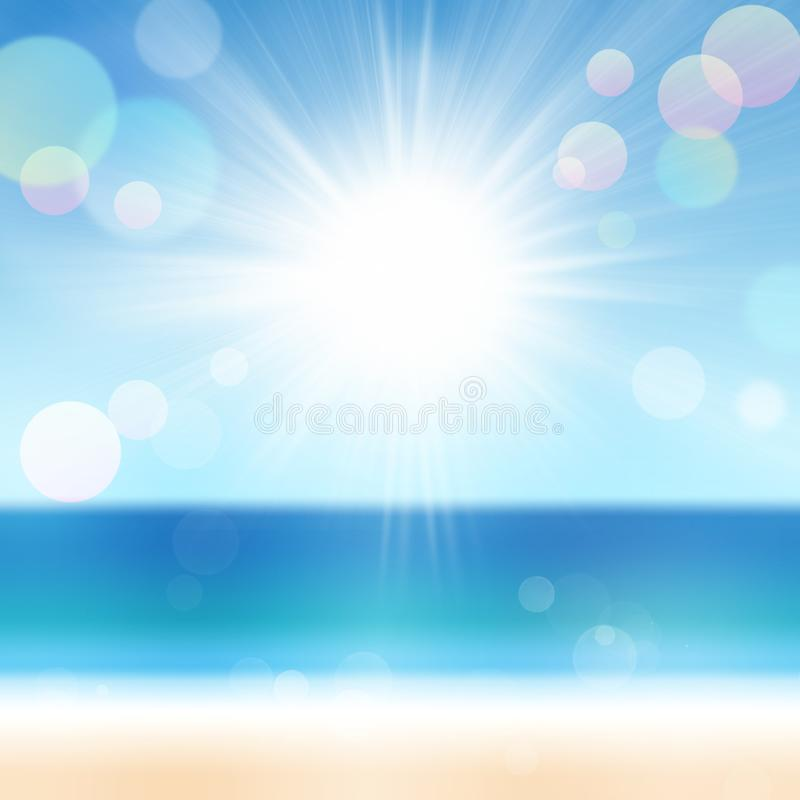 Sand Beach In Summer Sky Background: Summer Background Of Blurred Beach And Sea Stock