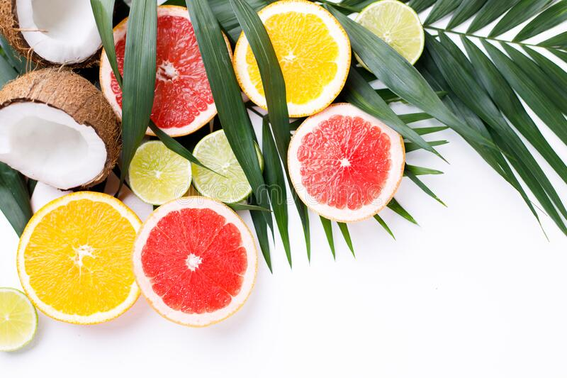 Summer background. Composition with exotic fruits royalty free stock photos