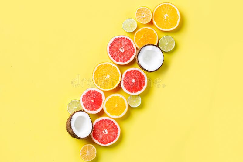 Summer background. Composition with exotic fruits stock photography