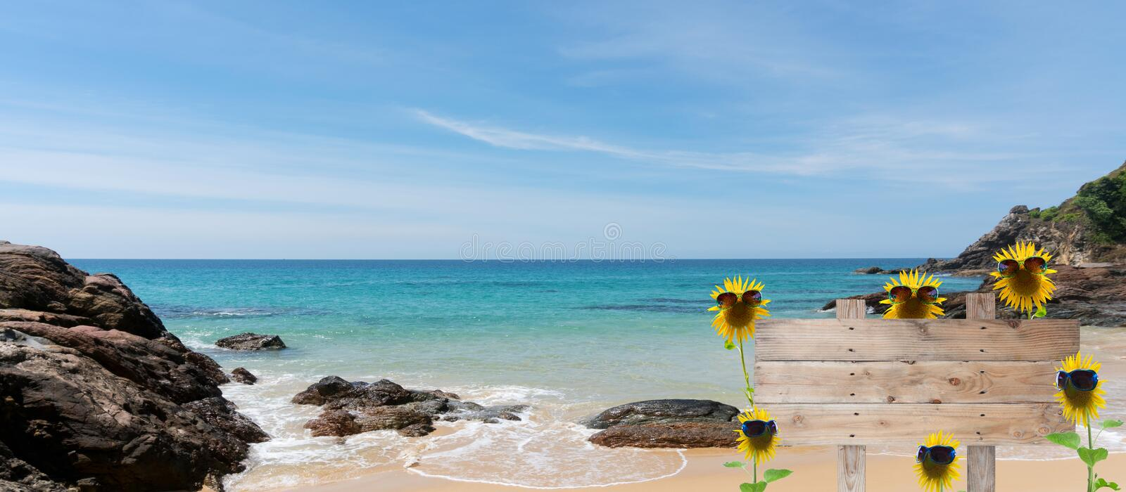 Summer background concept with sunflower, sunglasses,wooden sign stock image