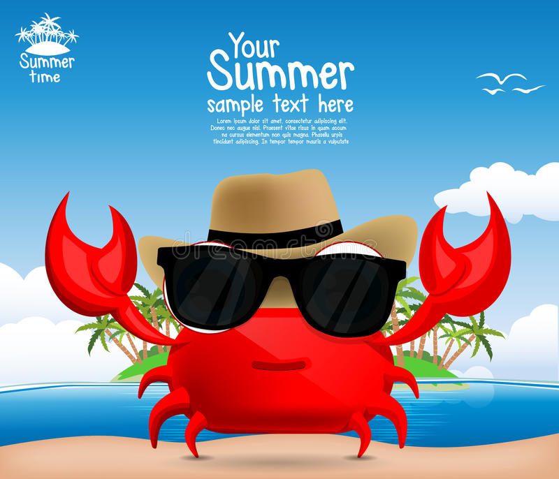 Summer background with a cute cartoon crab stock illustration