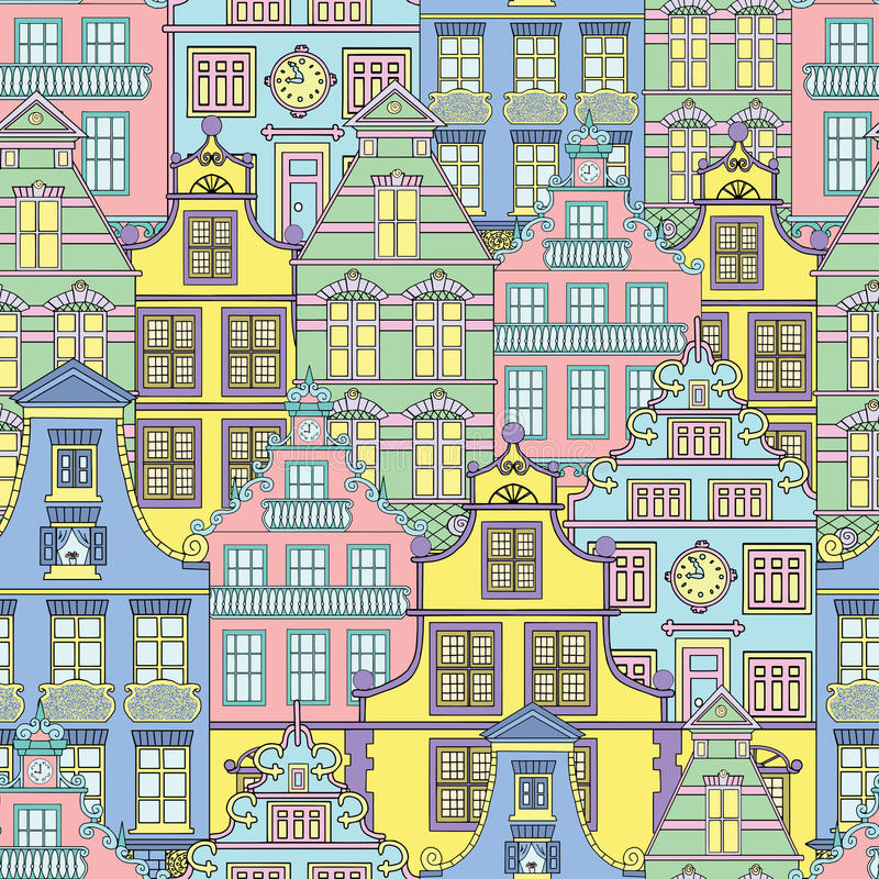Summer background with decorated fronts of houses. Seamless background with cute houses, decorated fronts of old buildings, hand drawn illustration vector illustration