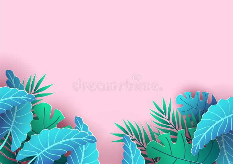 Summer background design with tropical elements. Pink background and leaves for sale banner, poster or voucher discount. Summer royalty free illustration