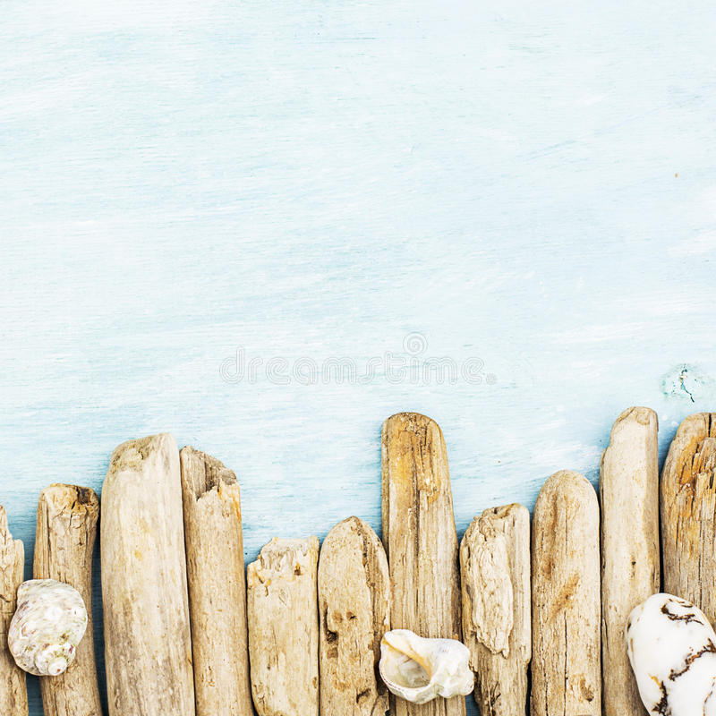 Summer background, driftwood marine items, sea objects on turquoise blue wood with copy space stock images