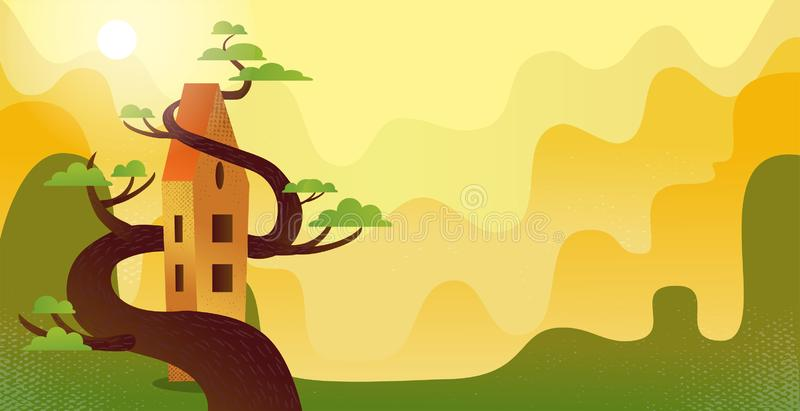 Summer background with fairytale long house entwined with wood green tree. Nature landscape with several rows of sunlit hills. stock illustration