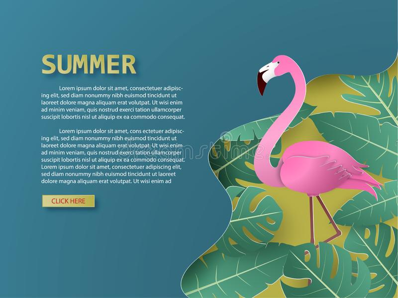 Summer background with flamingo bird and tropical palm and leaves paper cut style stock illustration