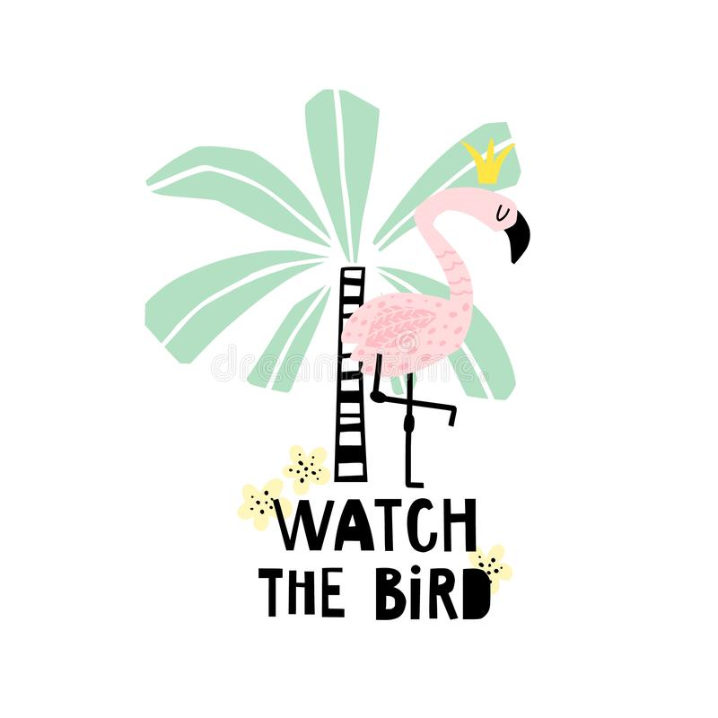Summer background with flamingo and palm stock illustration