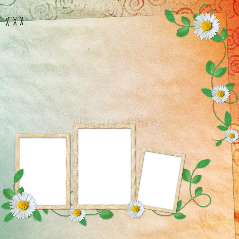 Summer background with frames and flowers stock illustration