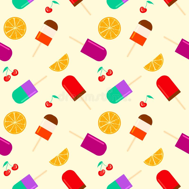 Summer background with fruity popsicle, orange and cherry furit. summertime seamless pattern with ice cream pop stick stock illustration