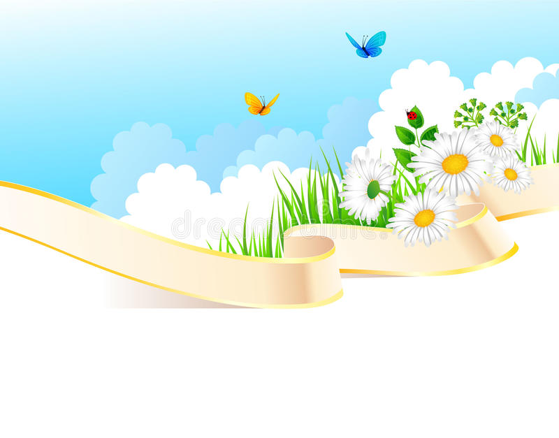 Summer background with grass and ribbon stock illustration