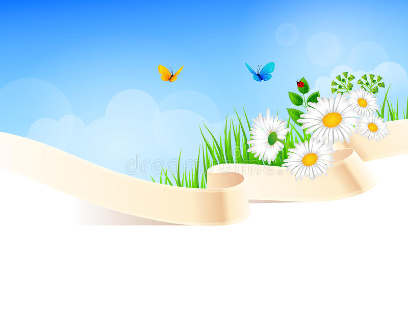 Summer background with grass vector illustration