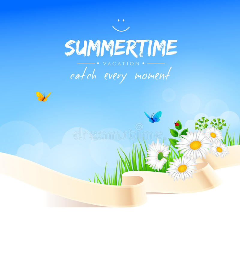 Summer background with grass stock illustration