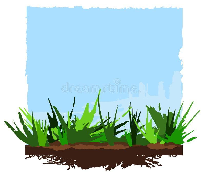 Summer Background, green grass and blue sky. vector illustration