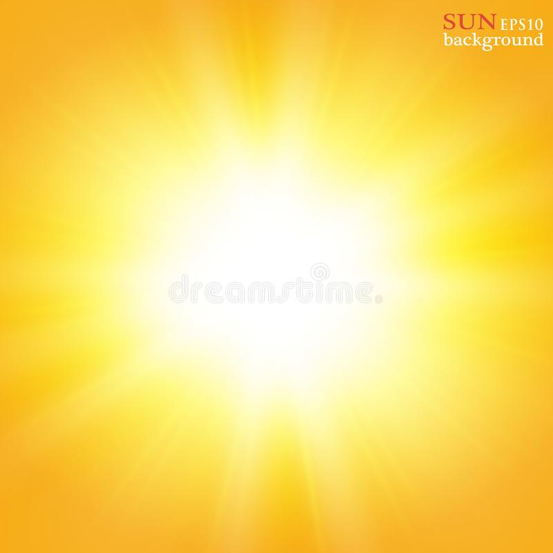 Summer background with a magnificent summer sun burst with lens flare. Space for your text. stock illustration