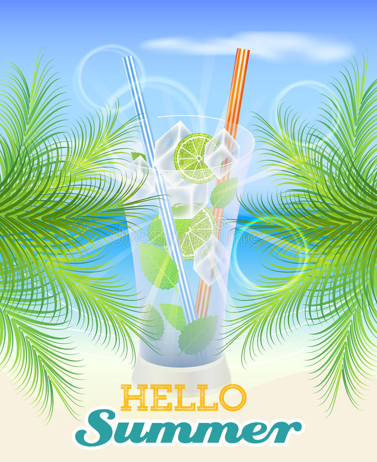 Summer background with palm leaves, drink and seaside stock illustration
