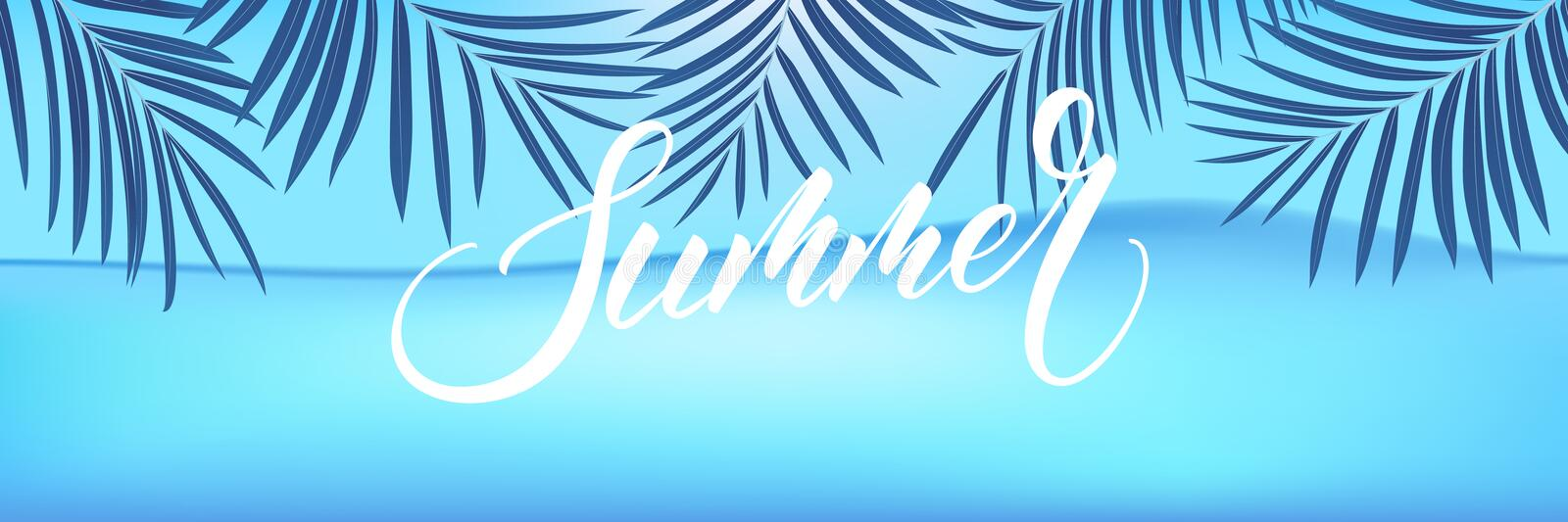 Summer background. Palm leaves tropical wallpaper with ocean. Summer trendy design for ad, invitation, flyer, poster, web banner.  royalty free illustration