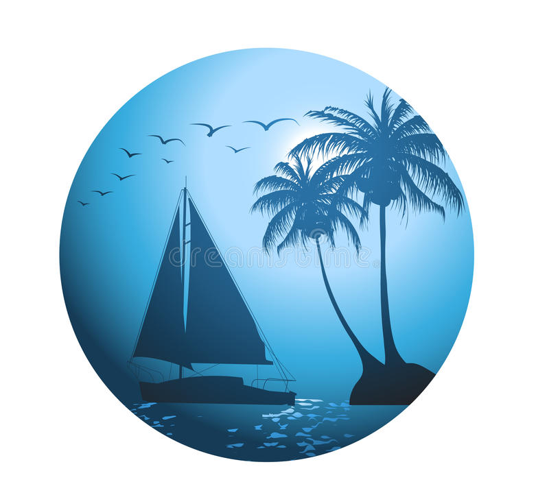 Summer background with palm trees and a yacht