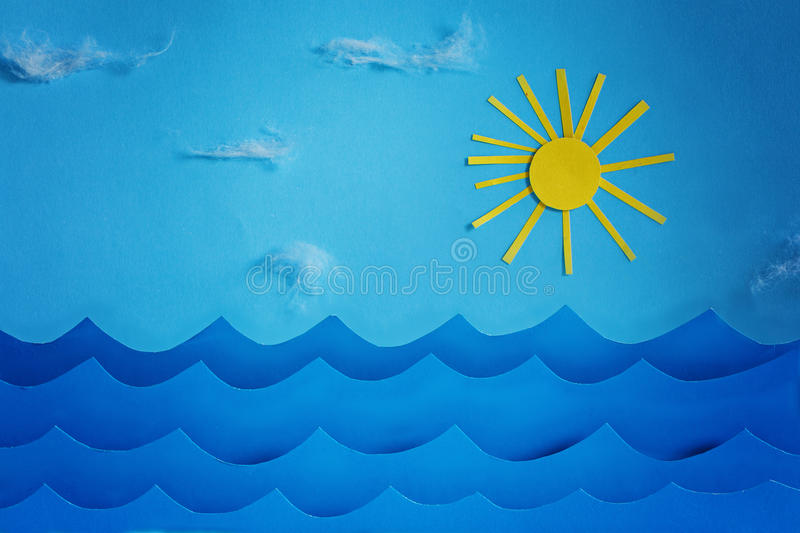 Summer background with paper.Sea wave and sun and sky.  royalty free stock images