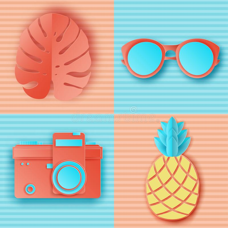 Summer background in pastel colors. Paper cut retro photo camera. Sunglasses, pinapple and tropical palm leaves on striped background. Summer vacation concept vector illustration