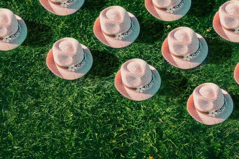 Summer background Pink sunhat on green grass. Pop art, creative summer party concept. Minimalism. stock photo