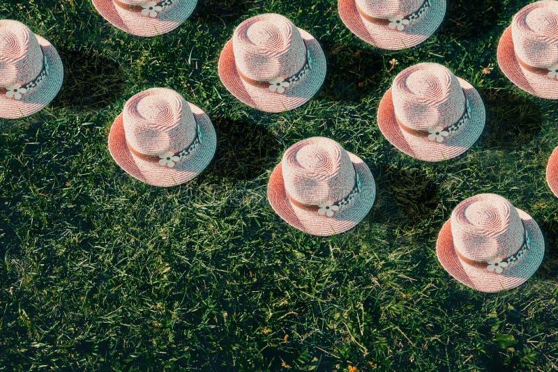 Summer background Pink sunhat on green grass. Pop art, creative summer concept royalty free stock images