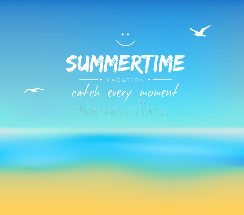 Summer background with sand and water royalty free illustration