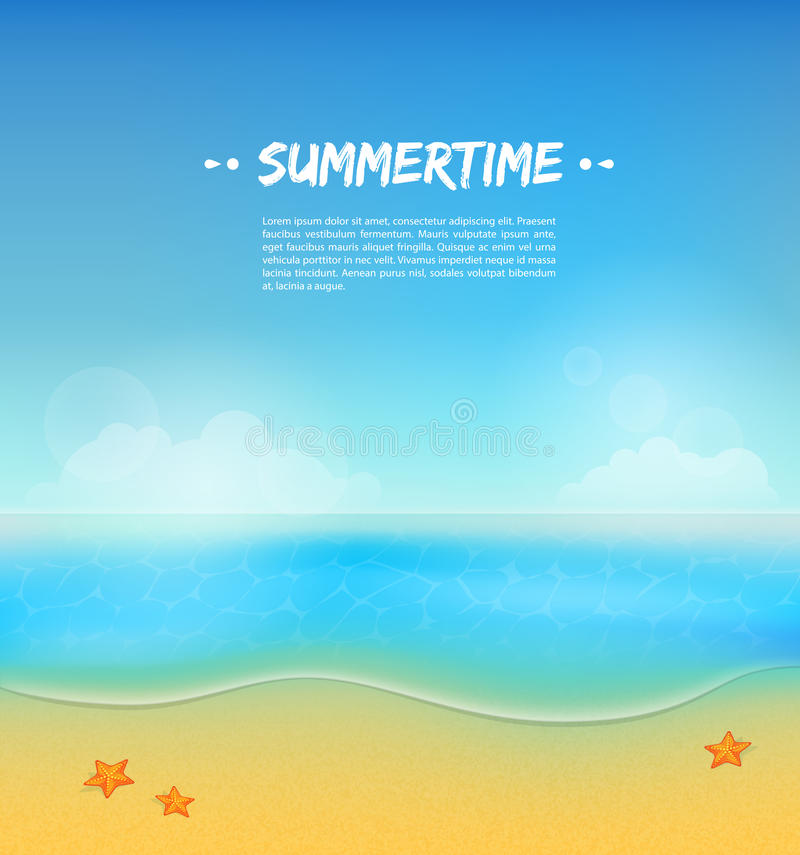 Summer background with sand and water stock illustration