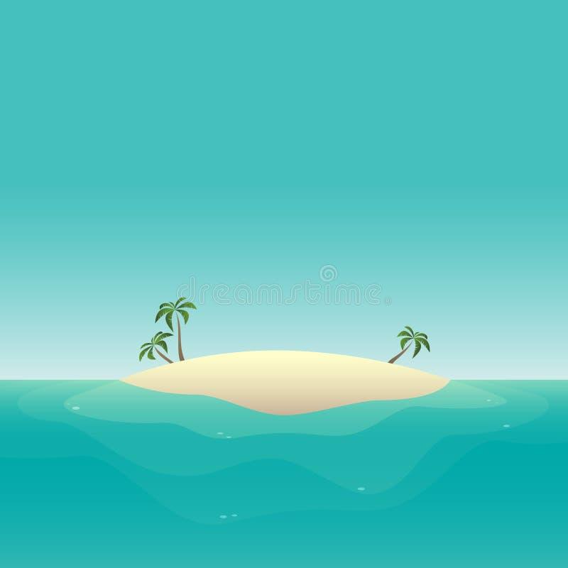 Summer background - sandy island at ocean vector illustration royalty free illustration