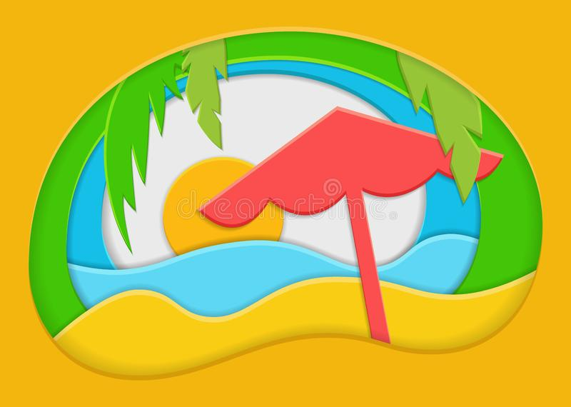 Summer background with sea, sand, parasol and palm. Paper cut vector illustration. Summer background with sea, sand, parasol and palm. Paper cut style vector stock illustration