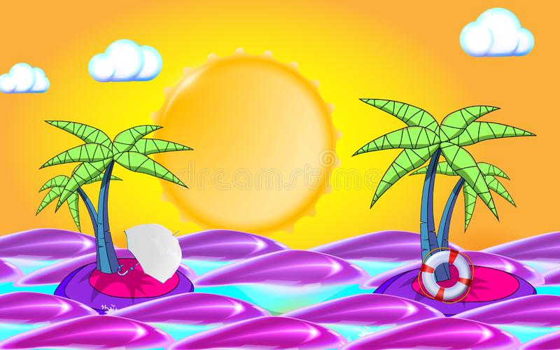Summer background with sea, sun, waves and palm tree leafs. Summer holidays travel elements: lifebuoy and umbrella. Vector stock illustration
