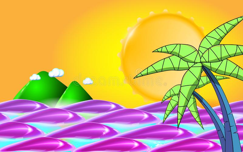 Summer background with sea, sun, waves and palm tree leafs. Summer travel holidays. Vector illustration. Eps 10 stock image