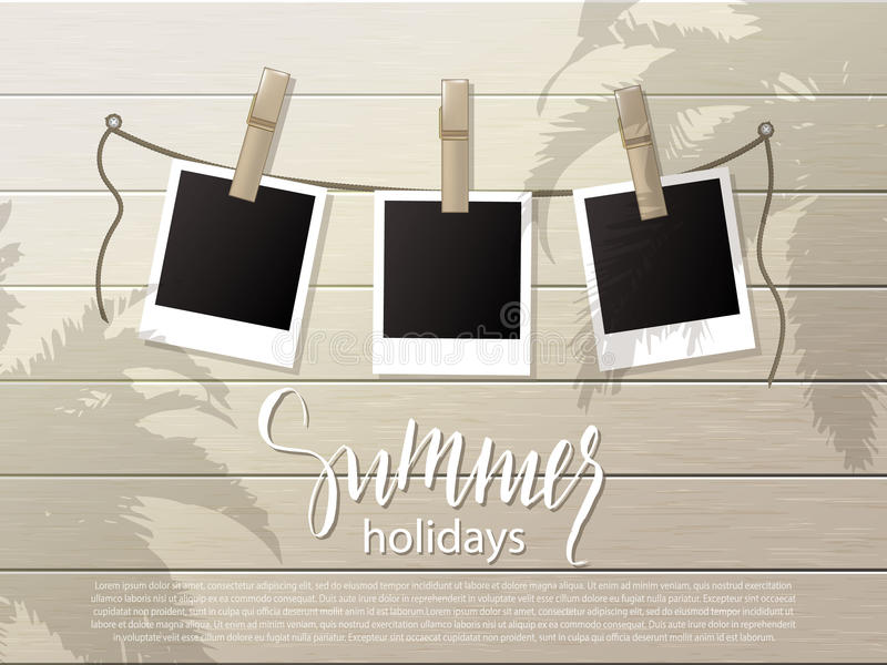 Summer background .Set of photo frames on the rope with clothespin. Wooden wall. Vector illustration. royalty free illustration