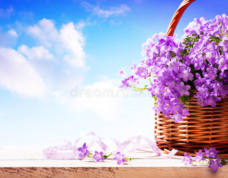 Download Summer Background,  Summer Flowers In Basket Stock Photo - Image: 24291084