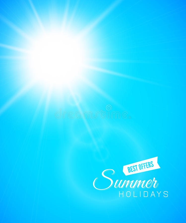 Summer background, summer sun with lens flare vector illustration