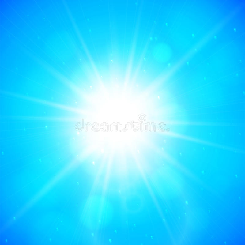Summer background, summer sun with lens flare royalty free illustration
