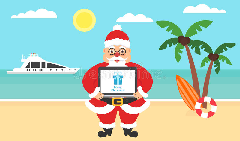 Summer background - sunny beach. Computer with congratulations for Merry Christmas and New Year. Sea, yacht,palm tree stock illustration