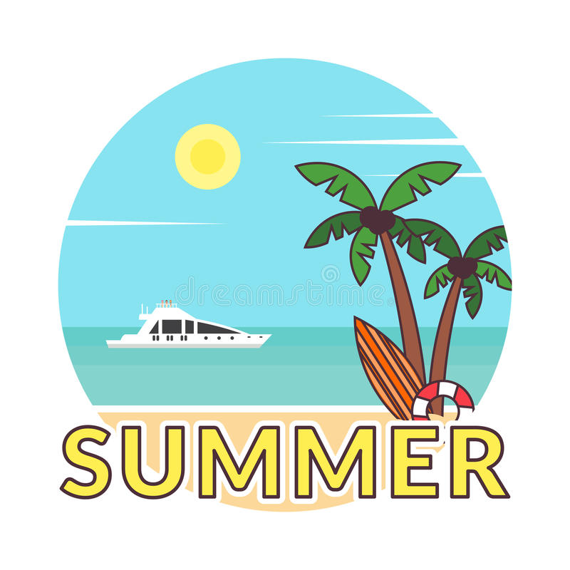 Summer background - sunset beach. Sticker in modern flat design. Sea, yacht and a palm tree. Vector illustration. vector illustration