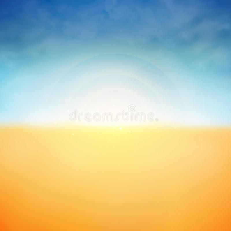 Summer background of sunshine and clouds nature beach background, illustration vector eps10. Summer background of sunshine and clouds nature beach background royalty free illustration