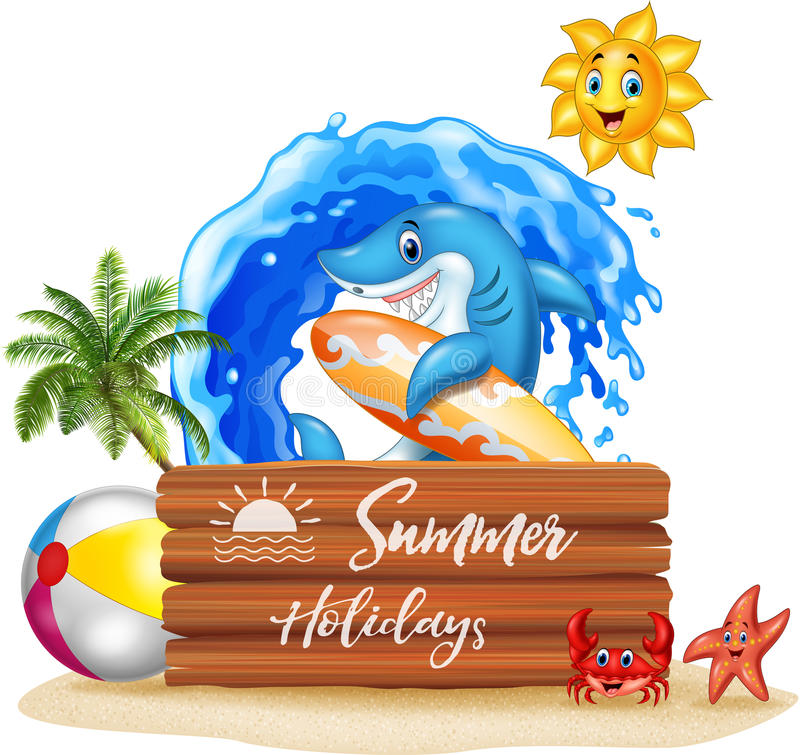 Summer background with surfing shark and wooden sign royalty free illustration