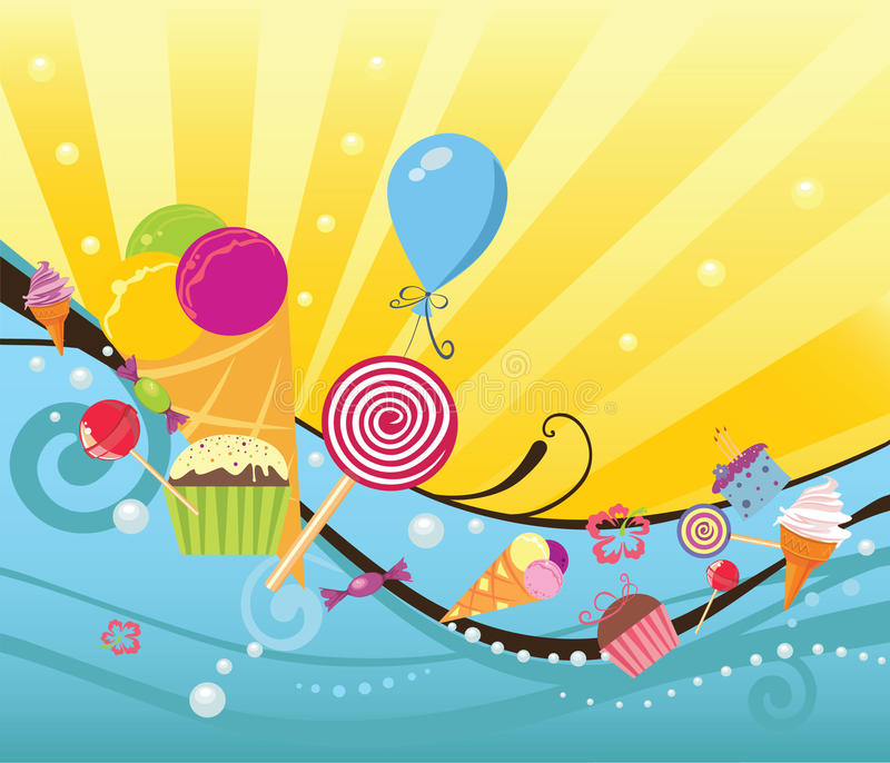 Summer background with sweets and ice creams vector illustration