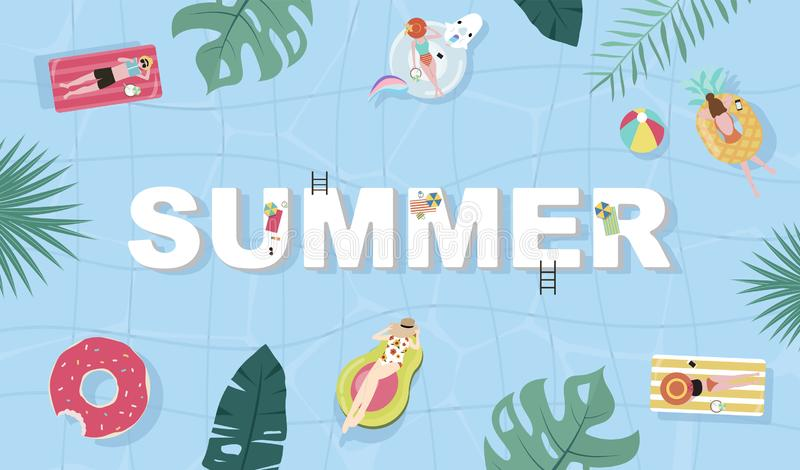 Summer background with tiny people,umbrellas, ball,swim ring,sunglasses,surfboard,hat,sandals in the top view beach.Vector summer. Summer background with tiny royalty free illustration