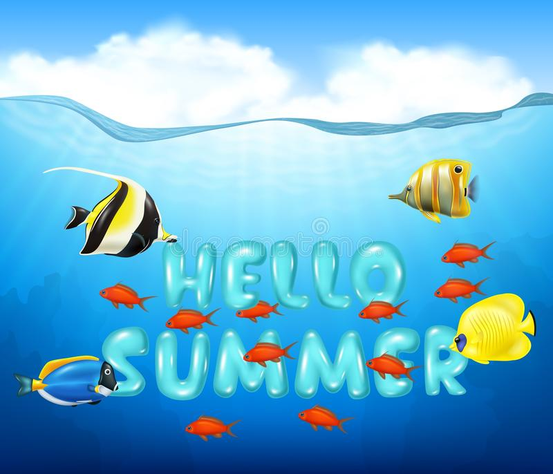 Summer background with tropical fish stock illustration