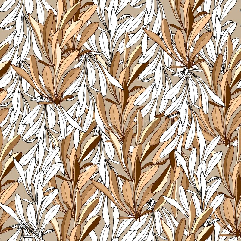 Summer background of white and beige leaves. Tektilny ornament for fabrics, tiles. Vector seamless pattern vector illustration