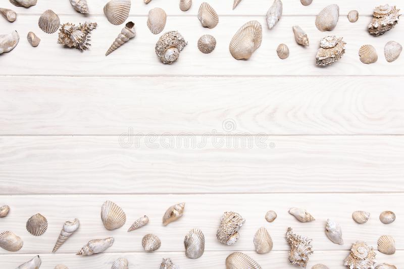 Summer background with white wooden table with many seashell. Copy space royalty free stock photo