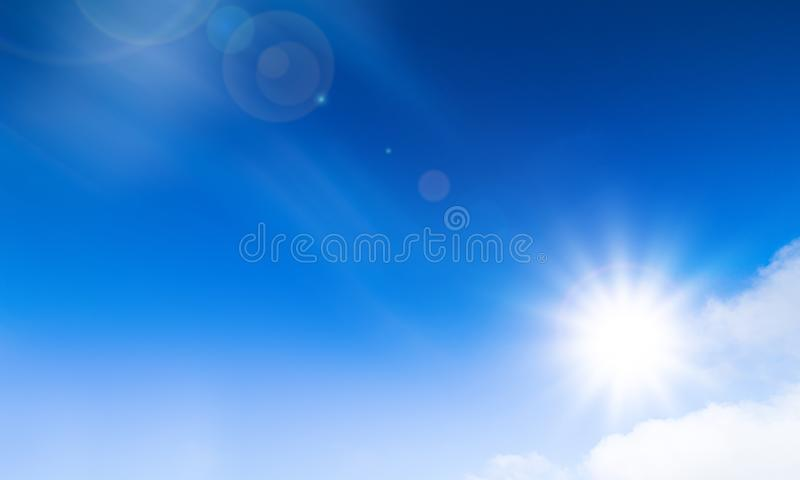 Summer background. Wonderful sunny sky and bright sun. Nice weather wallpaper. Sunny stock photos