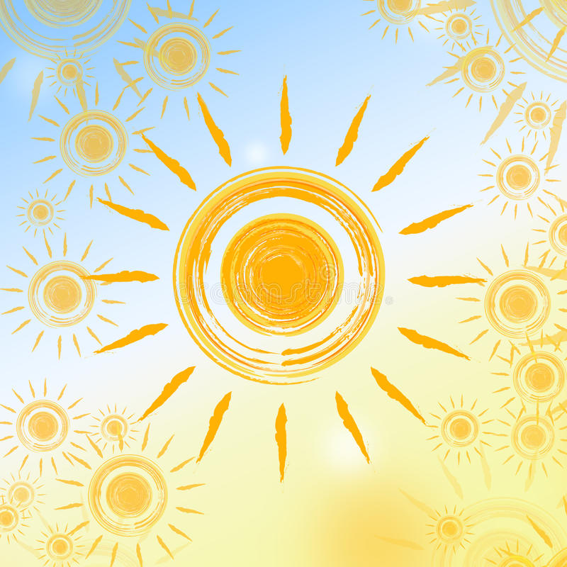 Summer background with yellow suns vector illustration