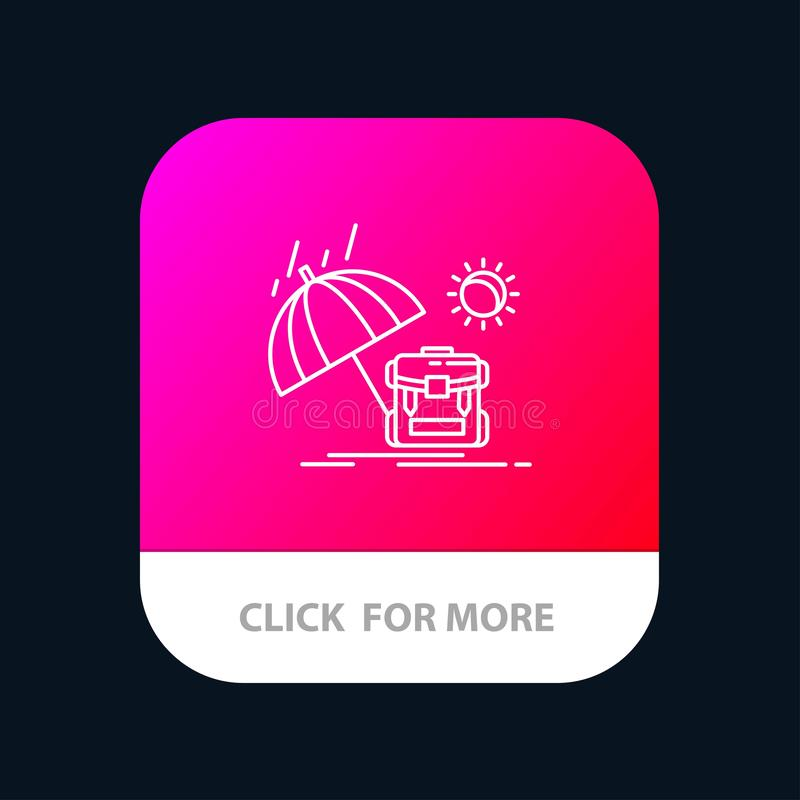 Summer, Backpack, Sun, Season Mobile App Button. Android and IOS Line Version vector illustration