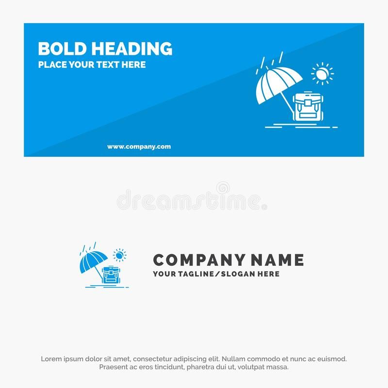 Summer, Backpack, Sun, Season SOlid Icon Website Banner and Business Logo Template vector illustration