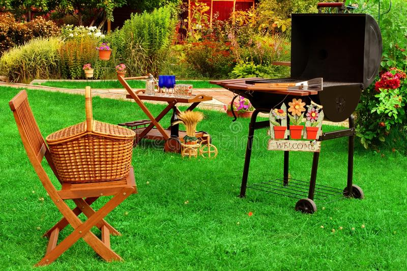 Download Summer Backyard BBQ Grill Party Or Picnic Scene Stock Image